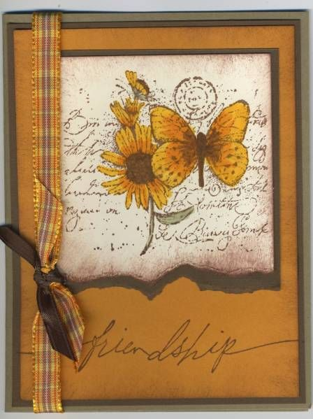 handmade greeting card ... Autumn Friendship by DEBBIZ  ... gorgeous Fall colors repeat in all the elements ... inks, ribbon and papers ... luv how the butterfly and flower stand out with deep rich coloring with the Garden Collage ... beautiful card ... Stampin' Up!