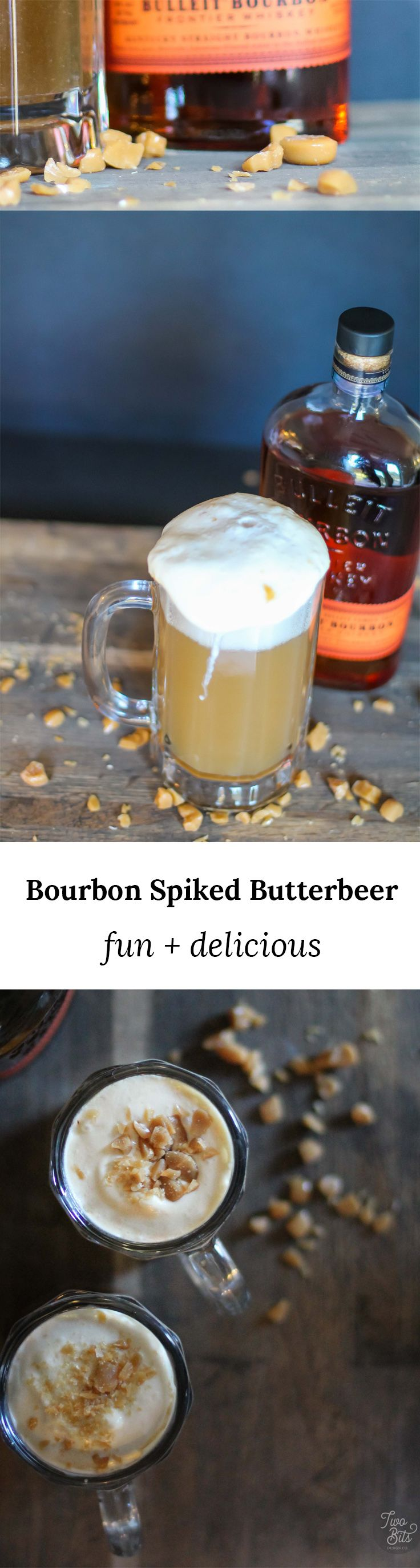Our Bulleit Bourbon spiked butterbeer recipe is a favorite of muggles, half bloods and wizards alike! Smokey Bulleit Bourbon mixed with a crisp and creamy base make this cocktail perfect for any Halloween or fall celebration!