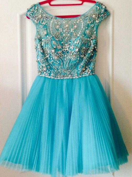 Homecoming Dresses,Turquoise Homecoming Dress,Short Homecoming Dress,Sexy Short Prom Dress,Tulle Ruffles Prom Dress, Backless Short Prom Dress,Prom Dress with Beadings,2017