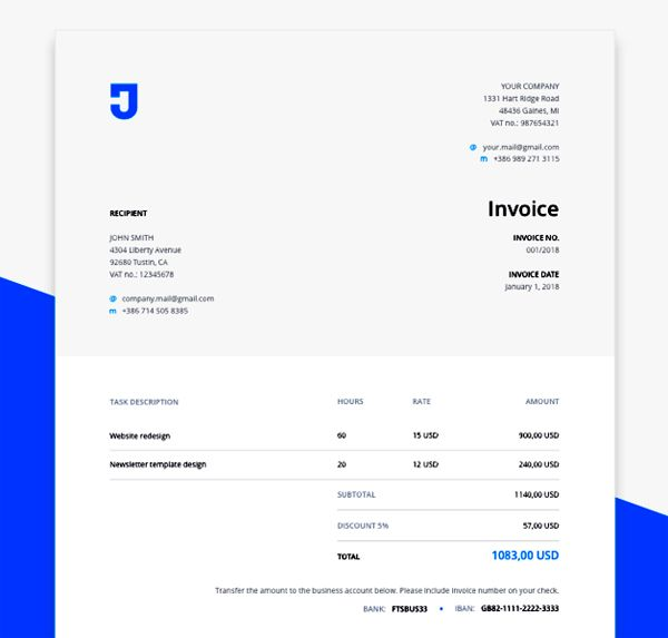 Free Invoice Template for Design Services #freebies #photoshop #uidesign #freemockup  #sketch #UIUX #freepsdfiles #freepsdmockup