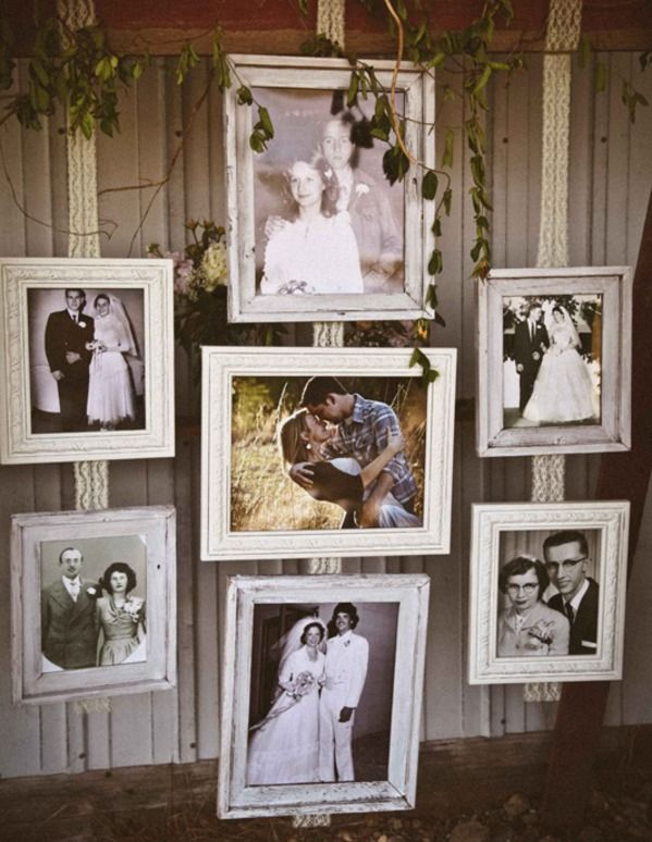 Wedding Ideas: Photos of the parents' and grandparents' weddings Create a great photo Wall
