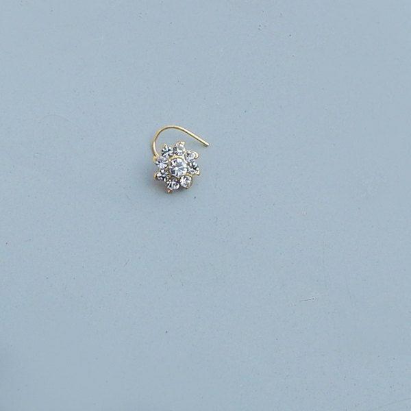 Flower Shape Bridal Clear Quartz Nose  Ring Cartilage