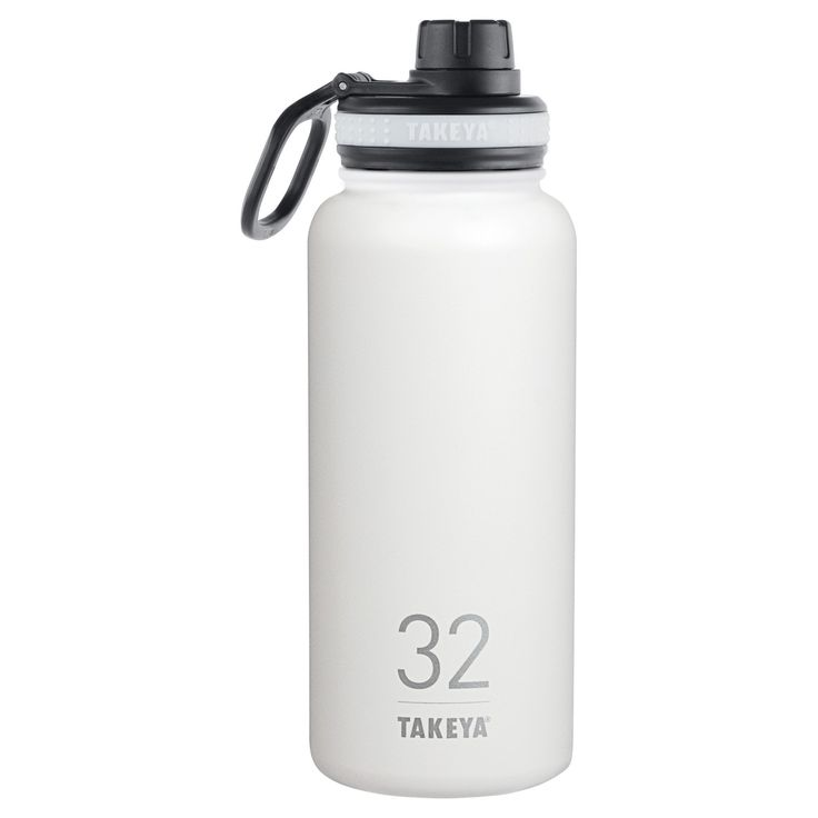 Takeya Originals 32oz Insulated Stainless Steel Water Bottle with Spout Lid - White
