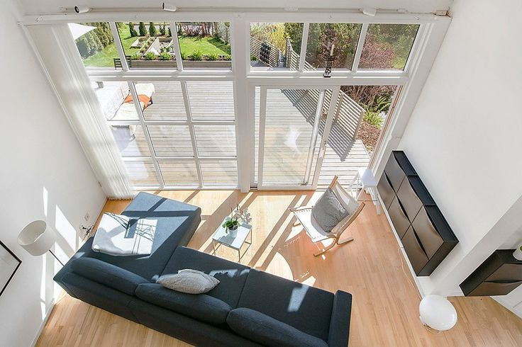 Living room photographed from mezzanine