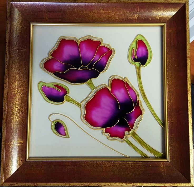 Poppy, glass painting (drawing design by AndaGlass)