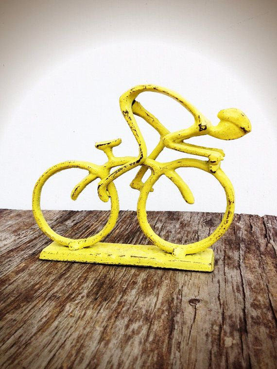 BOLD quirky bike rider metal statue // bright yellow // home office // shabby chic // boys room man cave decor // bicyclist