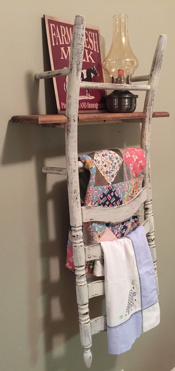 Chippy farmhouse ladder back wood chair shelf by Knicknaques