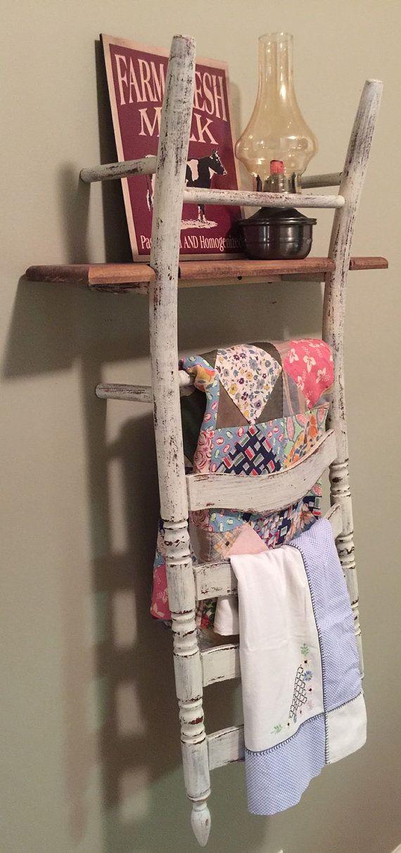 La vieille chaise s'accroche pour ne pas mourir...  / DIY Ladder back wood chair shelf. / By Knicknaques.