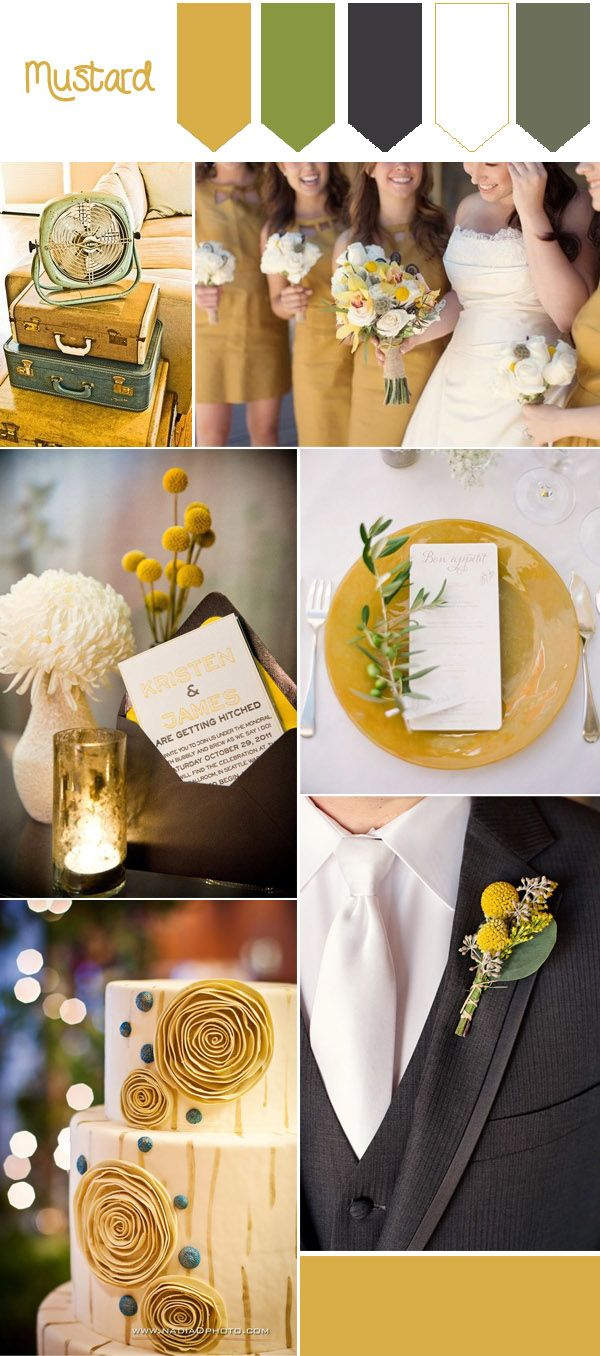 Top 10 Fall Wedding Colors from Pantone for 2016. Mustard and mint autumn wedding color ideas