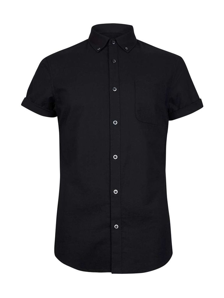 Black Short Sleeve Oxford Shirt