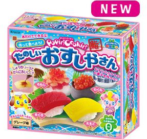 This is very cool! This kit is a sushi candy kit meaning you can make cute sushi style soft candy. The flavors for this kit are grape. Everything is included except water and sushi wood board to present the candy in.
