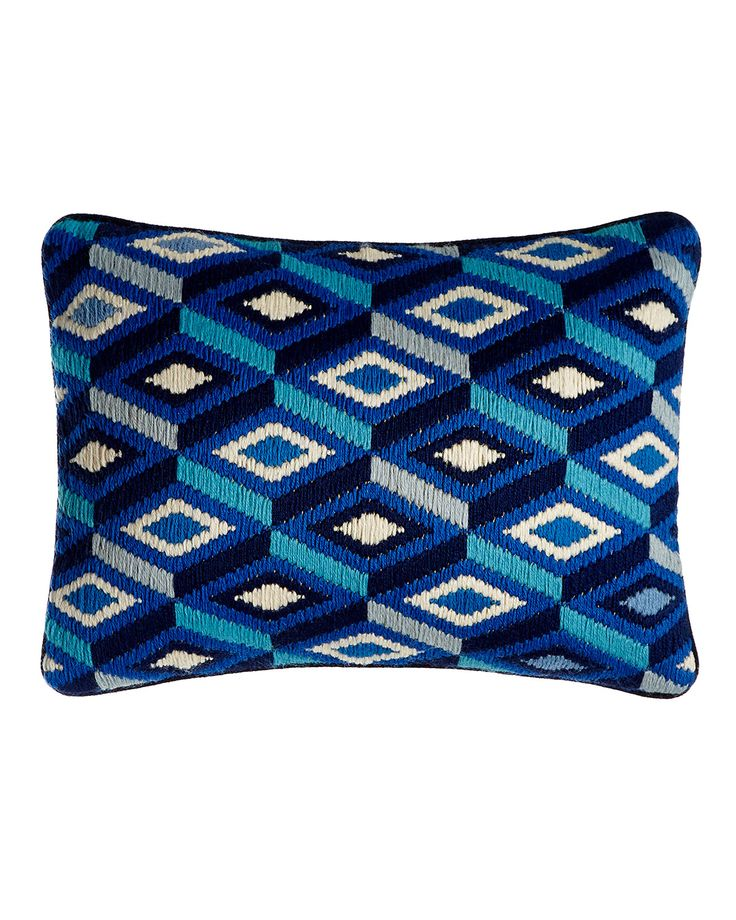 """Handcrafted pillow. Wool face; velvet backing. Hidden zipper. Feather/down insert. Dry clean. 16"""" x 12"""". Imported."""