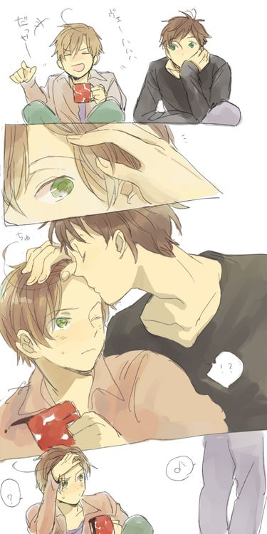 """""""forehead kiss~ haha Romano doesn't know how to react!"""" ——— I would also be confused if an attractive Spaniard kissed my forehead for no discernible reason."""
