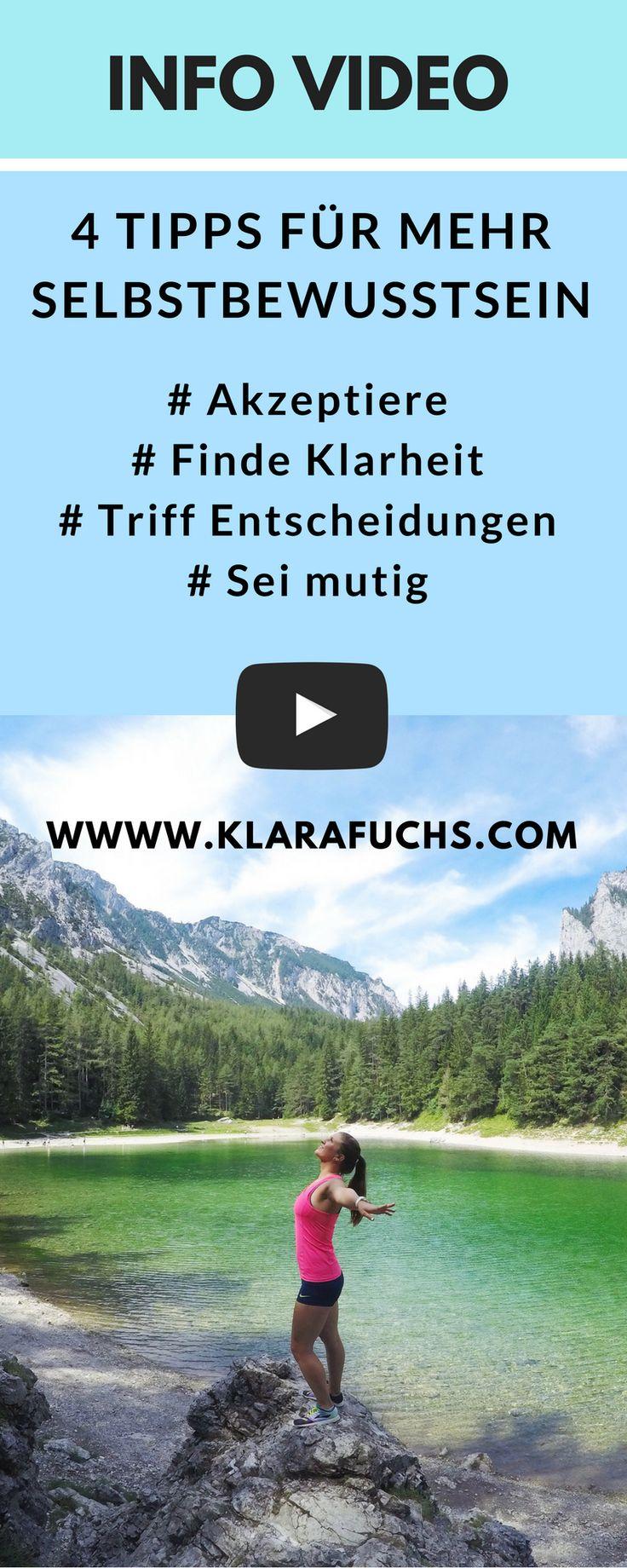 VIDEO: 4 wichtige Tipps für mehr Selbstvertrauen - KlaraFuchs.com // Tolle Tipps für mehr Selbstvertrauen und SElbstbewusstsein! Verändere dein Leben JETZT!! Mentalcoach Klara Fuchs gibt die besten Tipps. #selbstvertrauen #gesundheit #joggen #selbstliebe #selbstbewusstsein