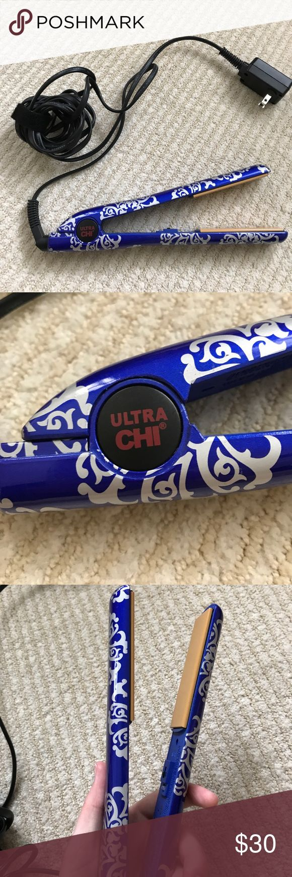 Ultra CHI Hair Straightener Royal Blue with white detail. GREAT condition and works. Used for Straightening Hair CHI Other