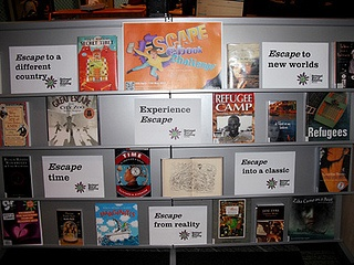 *Escape* book display - by Library ACU, via Flickr. Canberra Campus.