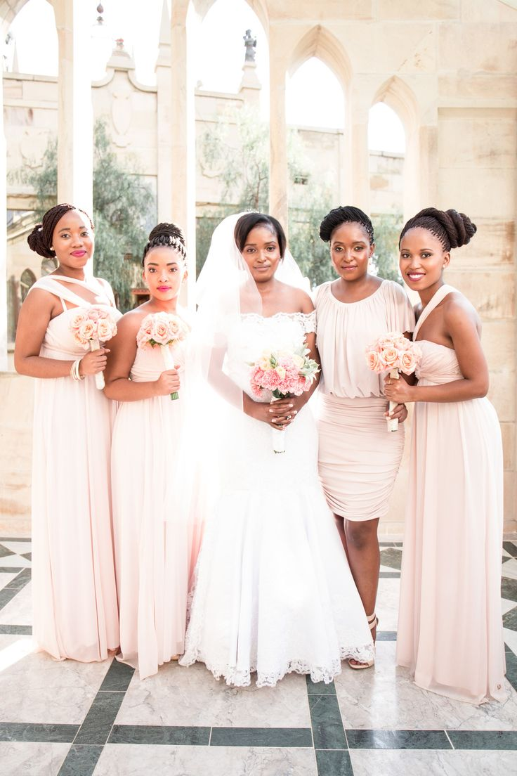 Gorgeous bridesmaids in pastel pink, at Shepstone Gardens, South Africa. Photo by Jessica Notelo. #pink #bridesmaids #dresses #rose #pastel #flowers #bouquets #shepstonegardens #weddingphotography #jessicanotelo