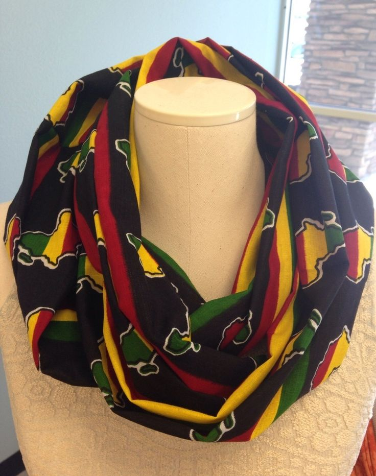 Red, black, yellow, and green, African print, handmade, infinity scarf