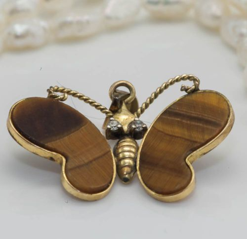 antique c 1920 deco 14k gold tigers eye butterfly pendant in jewelry
