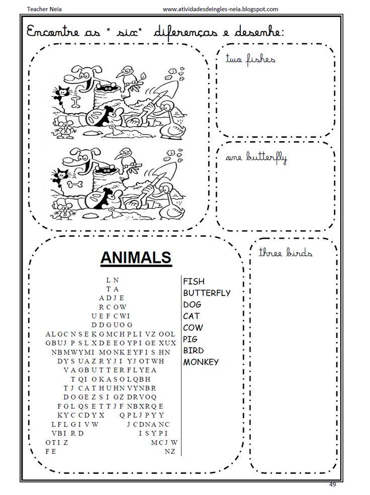 40 ATIVIDADES DE INGLÊS COM FRUTAS E ANIMAIS | PORTAL ESCOLA