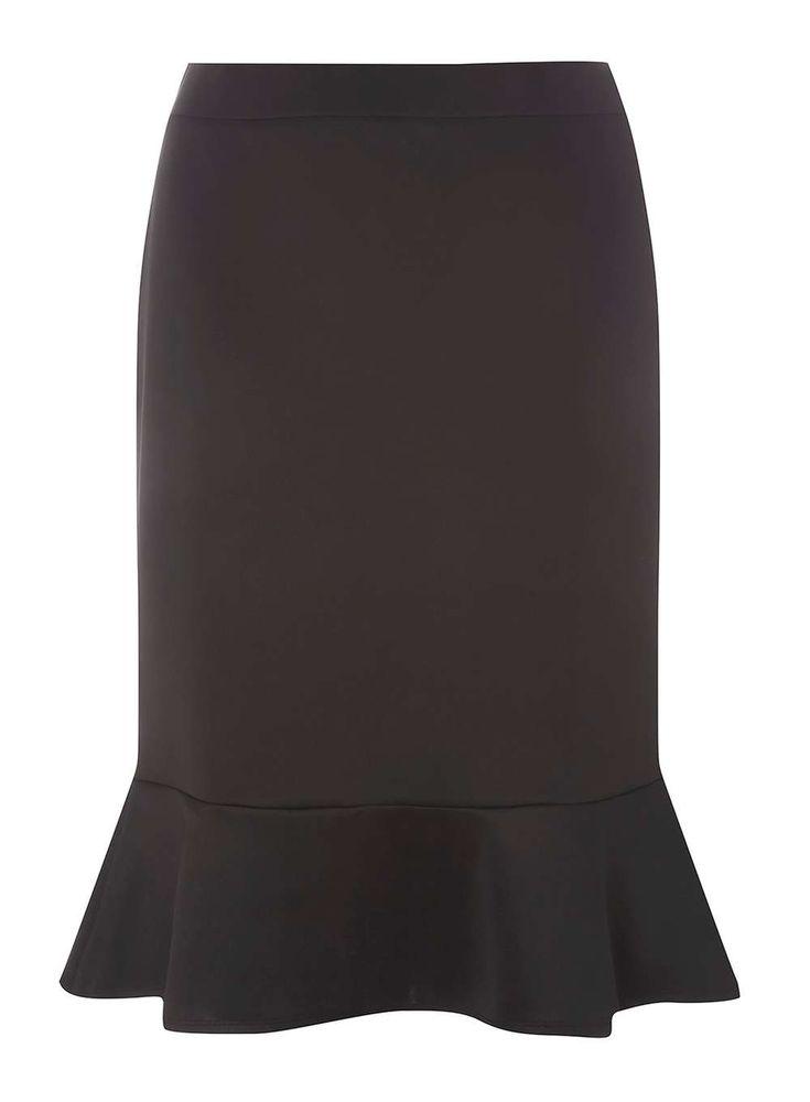 Womens DP Curve Plus Size Peplum Bodycon Skirt- Black
