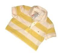 Prada Yellow White Stripe Polo T-shirt. XS