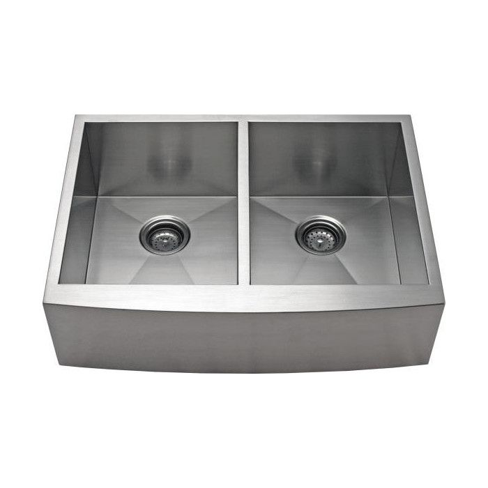 "Alpha International 30"" x 21.62"" Apron Farm 50/50 Double EqualBowl Kitchen Sink & Reviews 