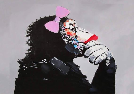 Dj ape monkey headphone  A1 A2 canvas art print Australia pop street painting