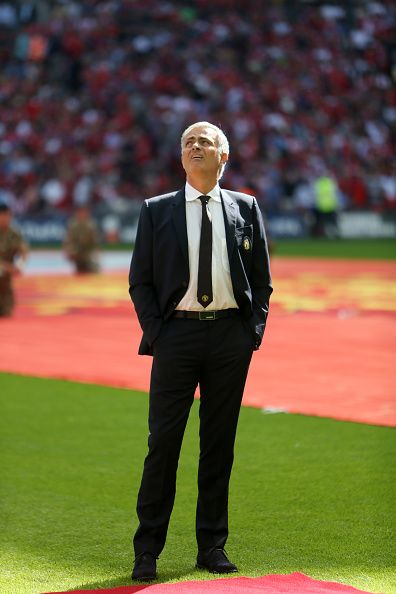Manager Jose Mourinho of Manchester United ahead of the FA Community Shield Match between Leicester City and Manchester United at…