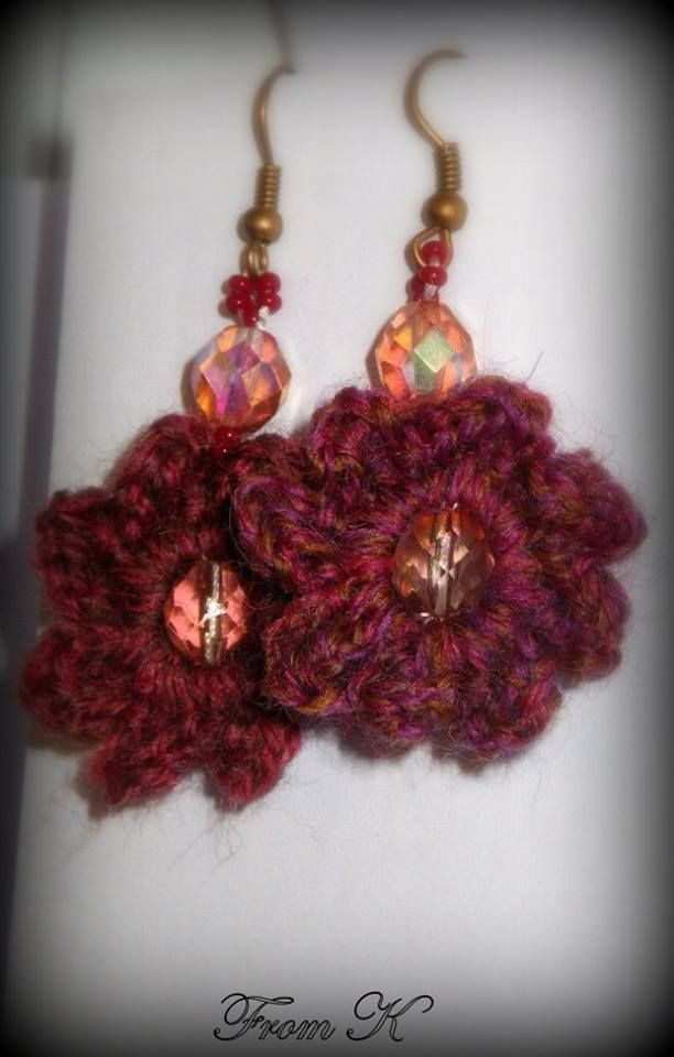 #Crochet #Flower #Dangle #Earrings. Hand crochet with a fine acrylic thread, decorated with Czech bead crystals. They create a super cute accessory to add to any outfit! Very light weight. 3cm long. For more models PLS do visit https://www.facebook.com/BeadsFromK/photos