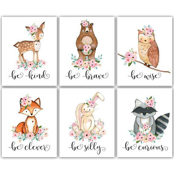 Be Kind Be Brave Nursery. Pink and Mint Nursery. Woodland Nursery Decor by PeanutPrintsBoutique on Etsy.