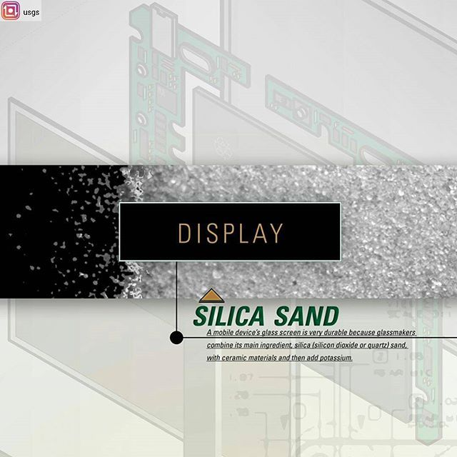"#Repost from @usgs with @regram.app ... Silica Sand — A mobile device's glass screen is very durable because glassmakers combine its main ingredient, silica (silicon dioxide or quartz) sand, with ceramic materials and then add potassium. Industrial sand and gravel, often called ""silica,"" ""silica sand,"" and ""quartz sand,"" includes sands and gravels with high silicon dioxide (SiO2) content.  These sands are used primarily for hydraulic fracturing (frac), well packing, and cementing, but also…"