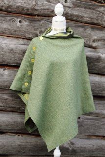Harriet Hoot Green Harris Tweed Poncho