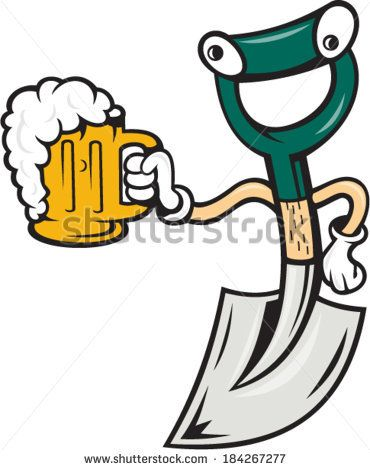 Illustration of a shovel holding beer mug on isolated background done in cartoon style. - stock vector #beer #cartoon #illustration