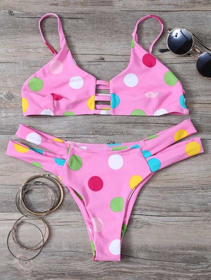 Polka Dot Cut Out Bikini Set - PINK L