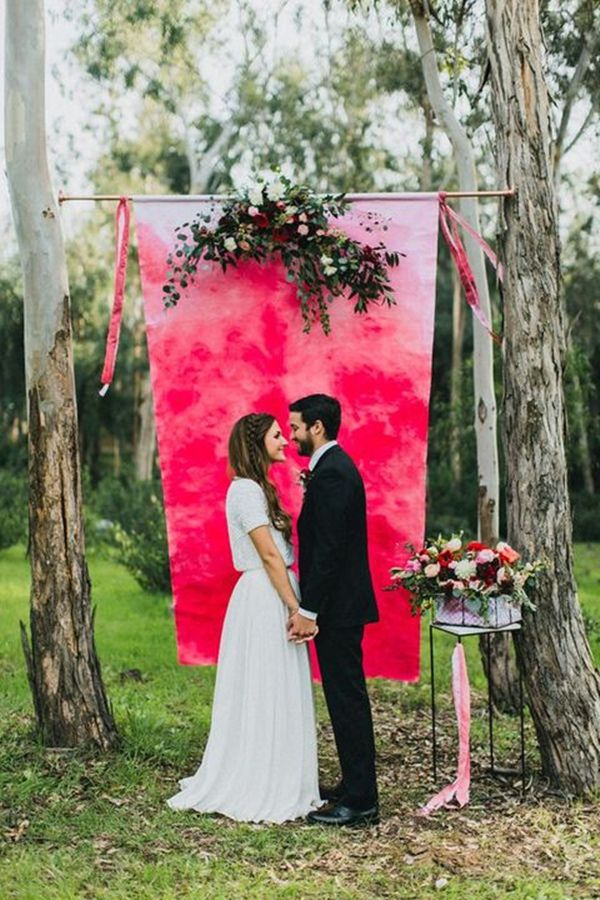 romantic watercolor wedding arch and backdrop ideas