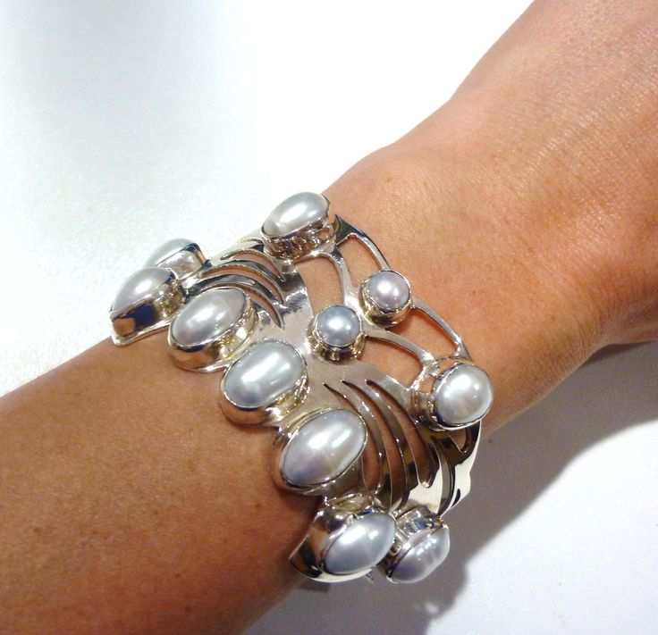 Stirling silver and mabe pearl cuff. Great for summer. #jewellery #pearl #mabe #silver