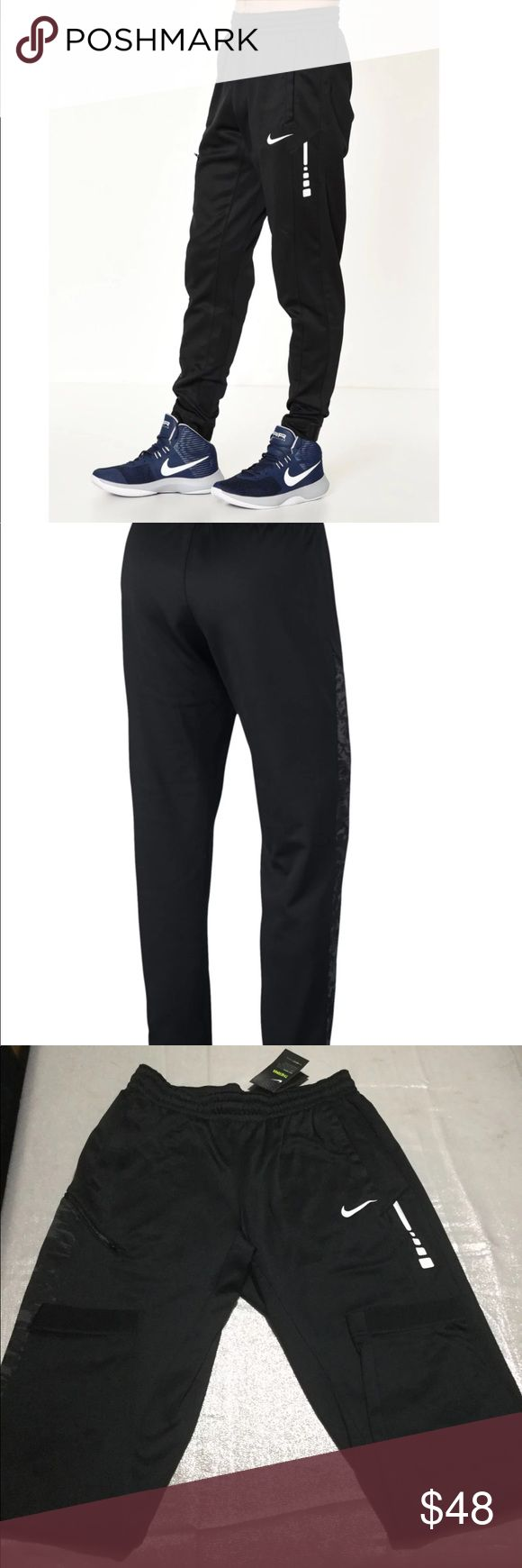 LARGE NIKE THERMA TRAINING PANTS MEN NWT Nike Therma Elite Basketball Pants, Size Large Men's, NWT, Retails $65+tax, Front Pockets, Zippered Media Pocket, Elastic Waistband with Internal Drawstring, Color Black, PRICE FIRM Nike Pants Sweatpants & Joggers