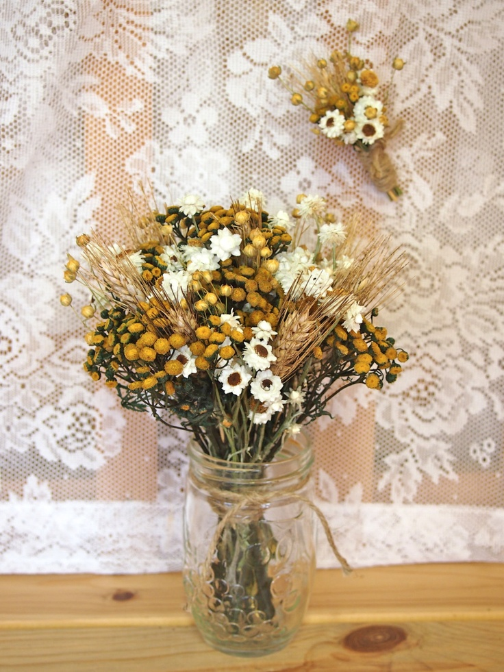 Hippie CHIC WEDDING Bouquet and Boutonniere - Dried Flowers are Perfect for Rustic Weddings. $23.50, via Etsy.