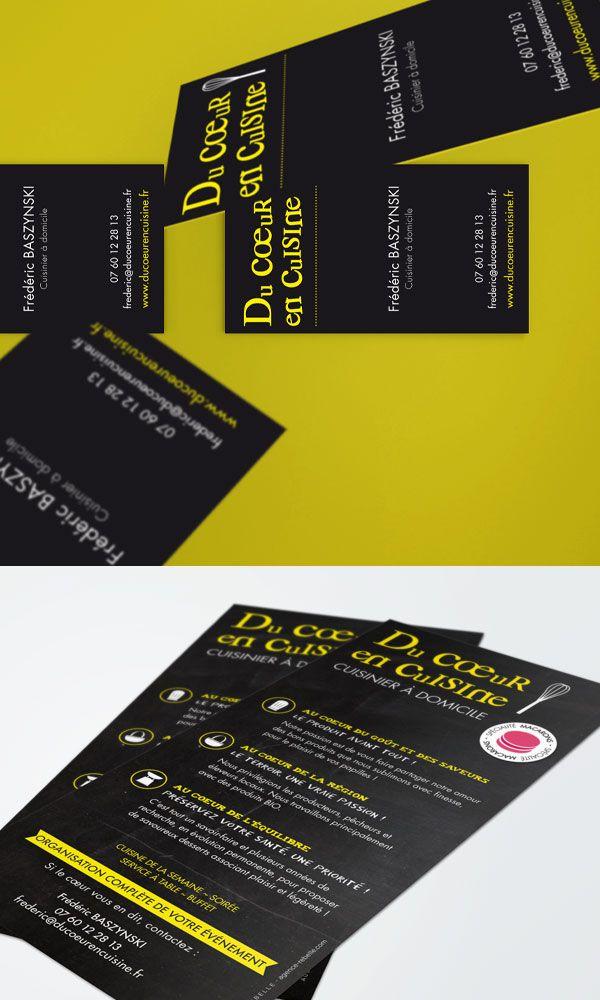 #agencerebelle - création carte de visite et flyer - cuisinier à domicile #ducoeurencuisine