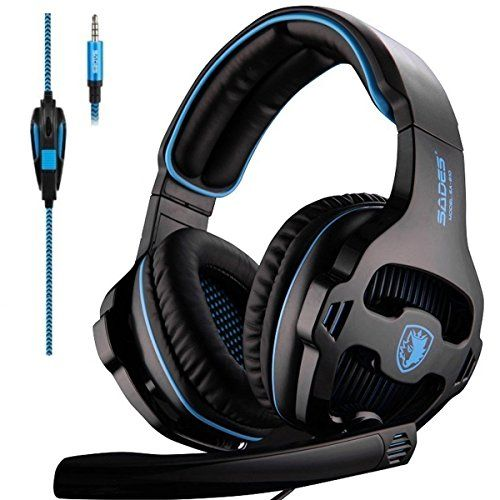 Cuffie Gaming Wired BASS STEREO CUFFIE Isolamento del Rumore-Nero e Blu