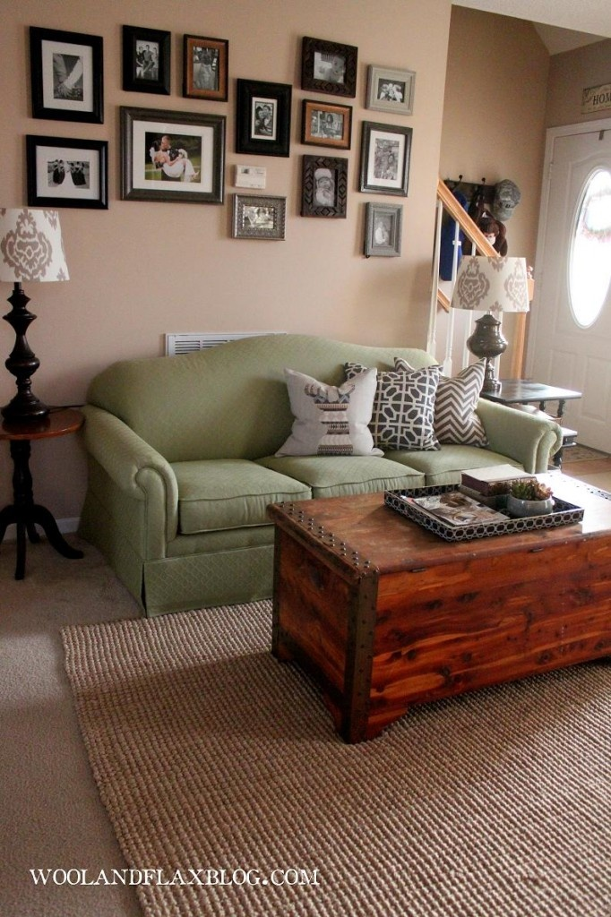 Green couch living room wool flax pinterest green for Living room with green sofa