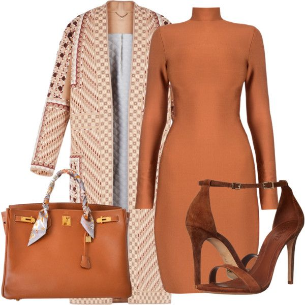 A fashion look from July 2016 featuring BCBGMAXAZRIA coats, Schutz sandals and Hermès handbags. Browse and shop related looks.