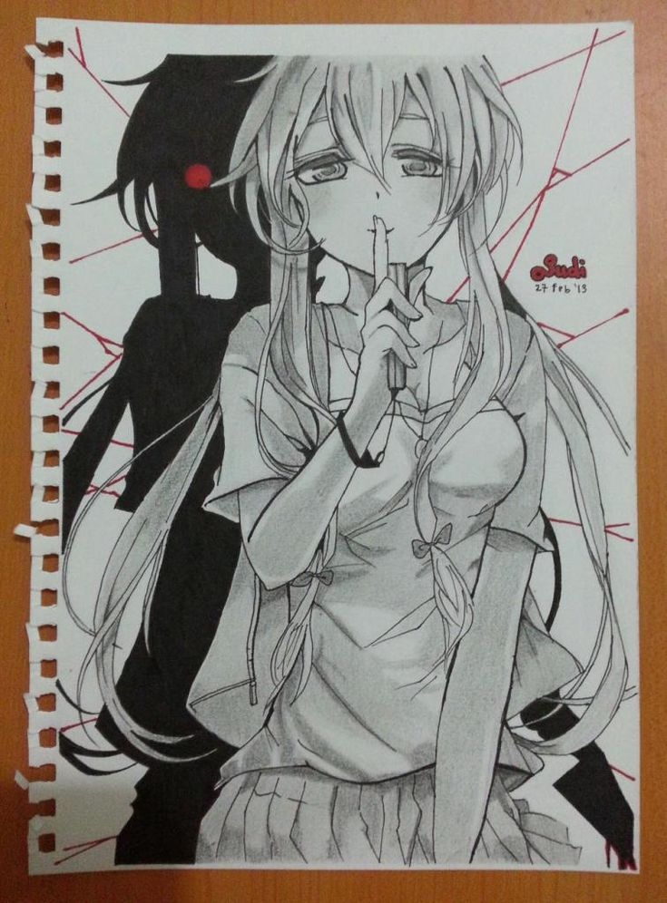 Superbe dessin de yuno gasai