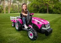 Peg Perego Case IH Magnum Tractor with Trailer 12 Volt Ride On - Pink