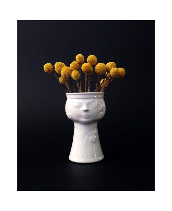 Mid Century Ceramic Lady Head Vase / Planter / by SergeantSailor