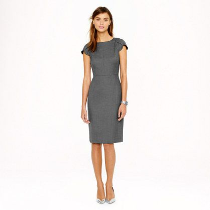 Another conservative wool dress from J. Crew. It's sleek shape won't permit pockets, but I think the sleeve shape would be great for me. The neckline would not be forgiving; it might not flatter a large bust and would also not allow a dress shirt underneath.