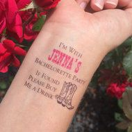 Western If Found Buy Me a Drink Bachelorette Party Temporary Tattoo