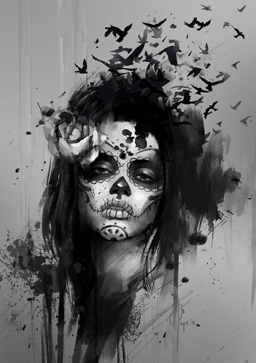 santa muerte tattoos black and white - Google Search                                                                                                                                                     More