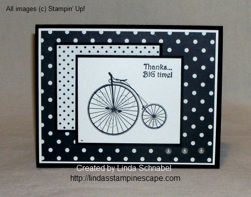 "THANKS ... Big Time!  Created with Stampin' Up! ""Timeless Talk"" stamp set, Modern Medley Designer Series Paper, and a few pearls!  Easy hand stamped cards :)  http://lindasstampinescape.com"